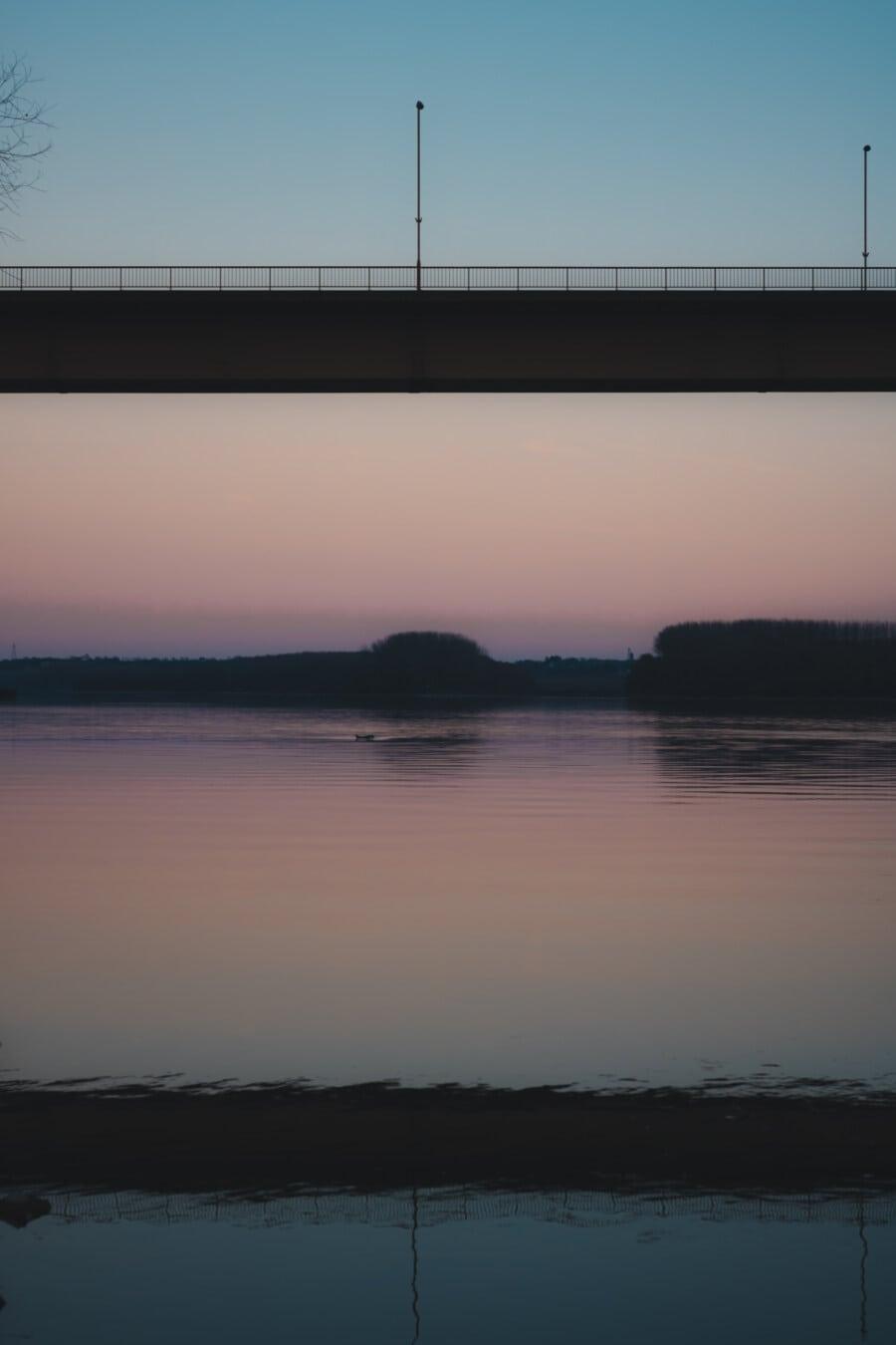 pont, crépuscule, berge, crépuscule, rivière, paysage, réflexion, coucher de soleil, eau, aube