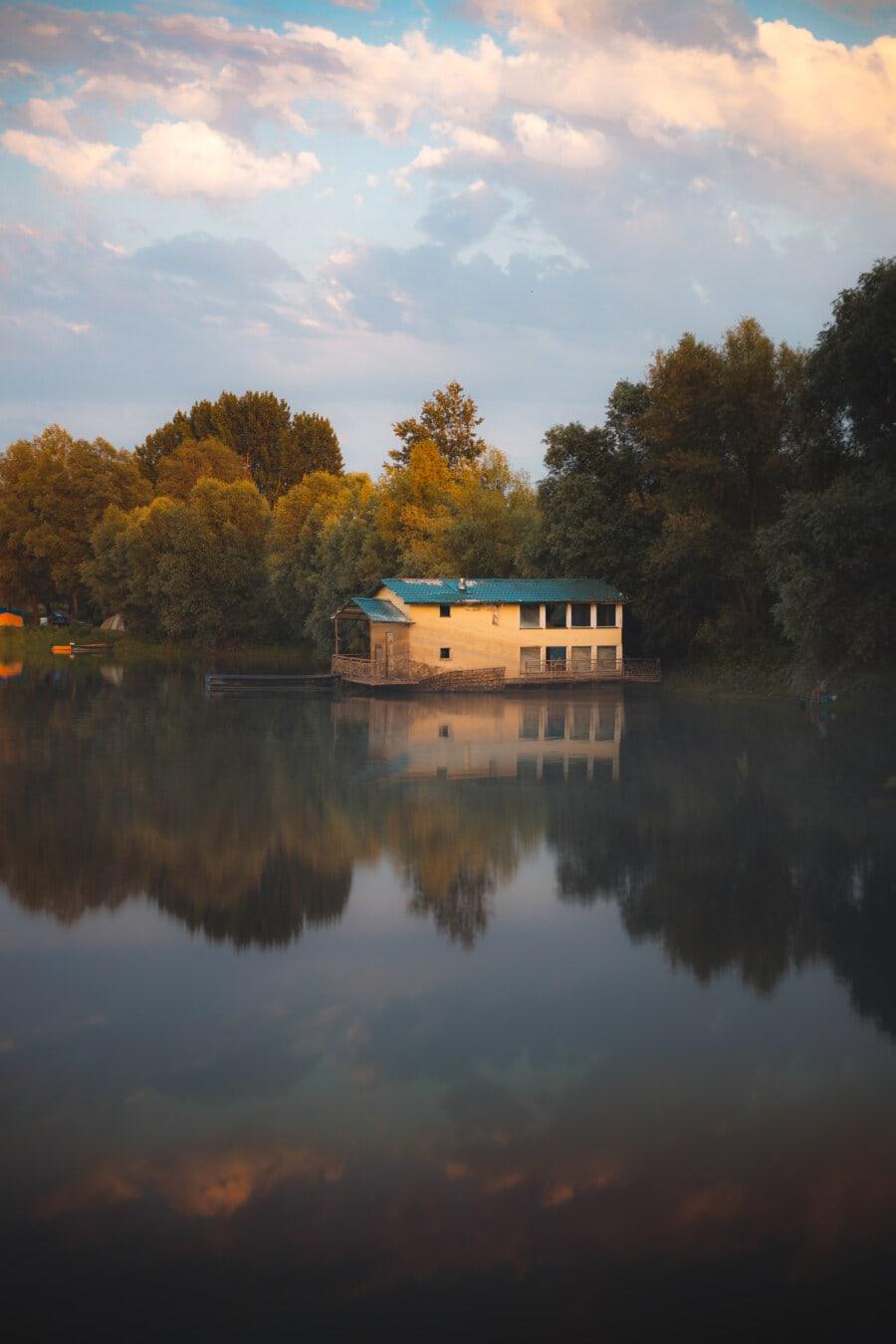 Ruhe, ruhig, Atmosphäre, verlassen, alt, Bootshaus, Verfall, Wasser, See, Sonnenuntergang