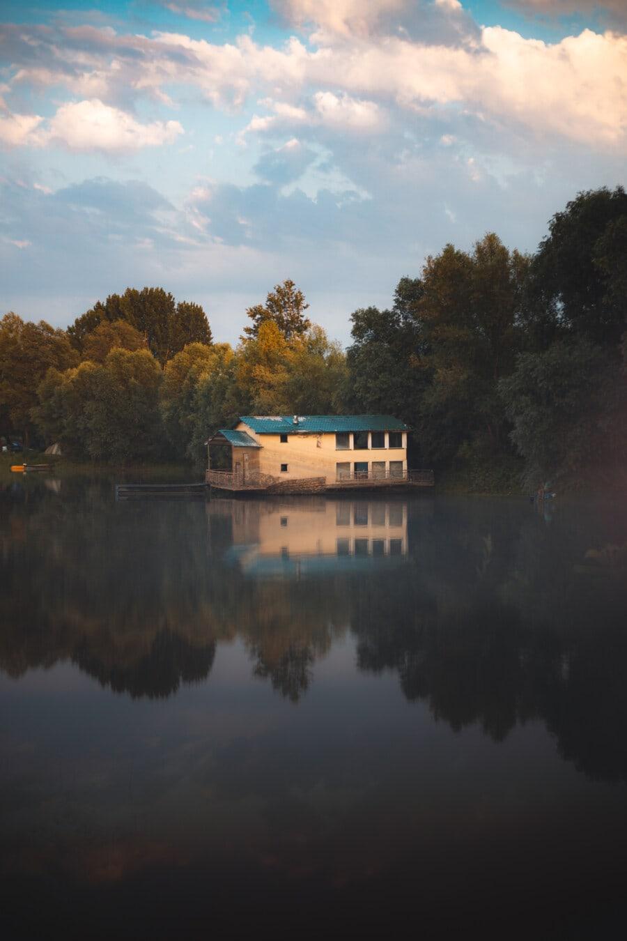 majestätisch, am See, ruhig, Bootshaus, Dämmerung, See, Reflexion, Wasser, Natur, im freien