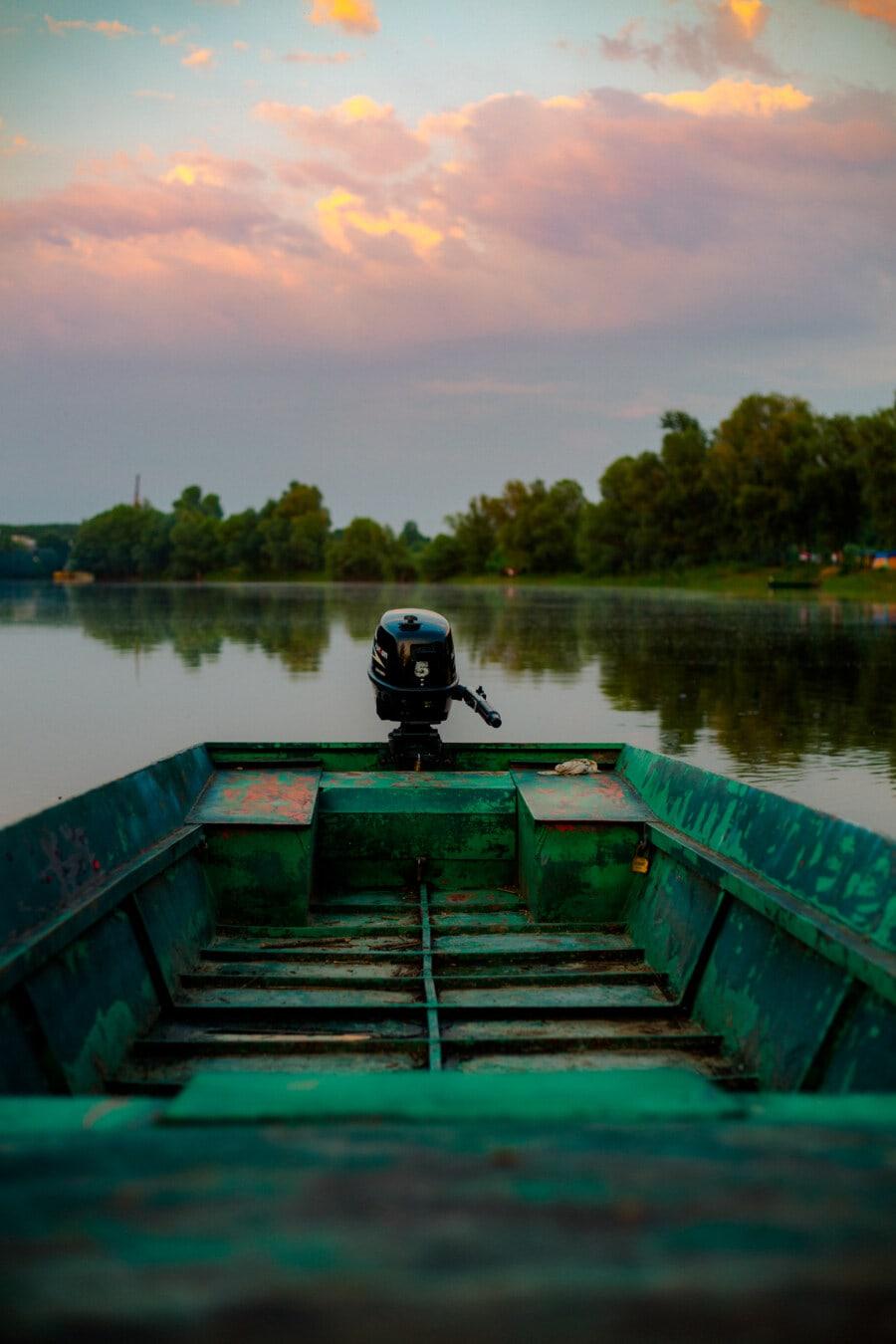 dunkelgrün, Boot, Diesel, Motor, Engine, Wasser, Sonnenuntergang, See, Dämmerung, Fluss