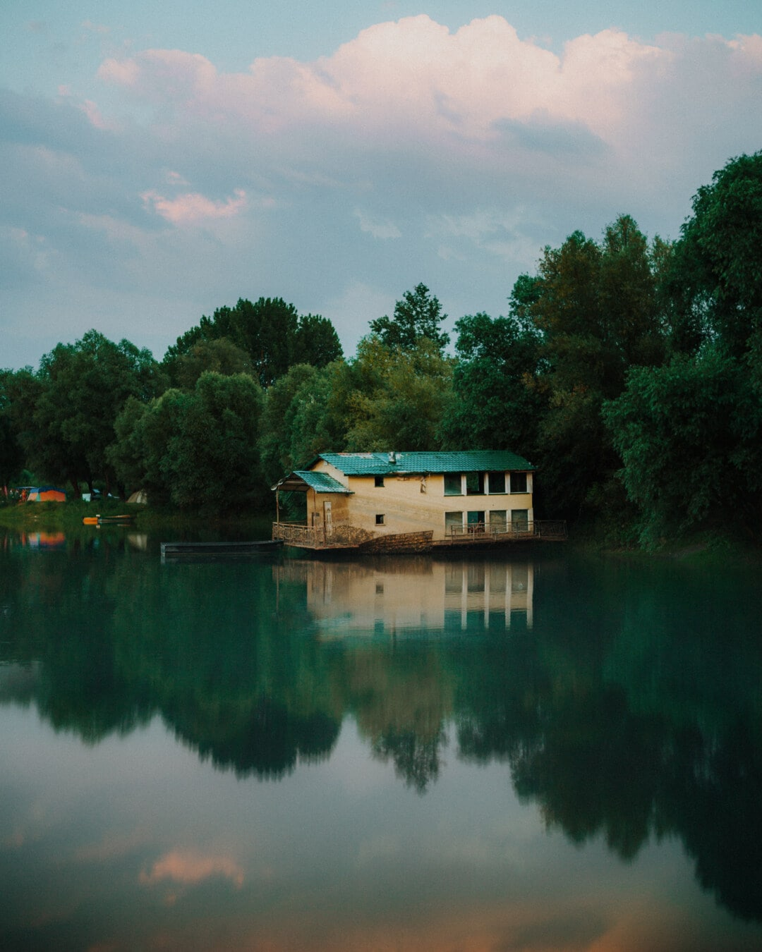 decay, abandoned, boathouse, resort area, camping, tent, lake, water, river, reflection