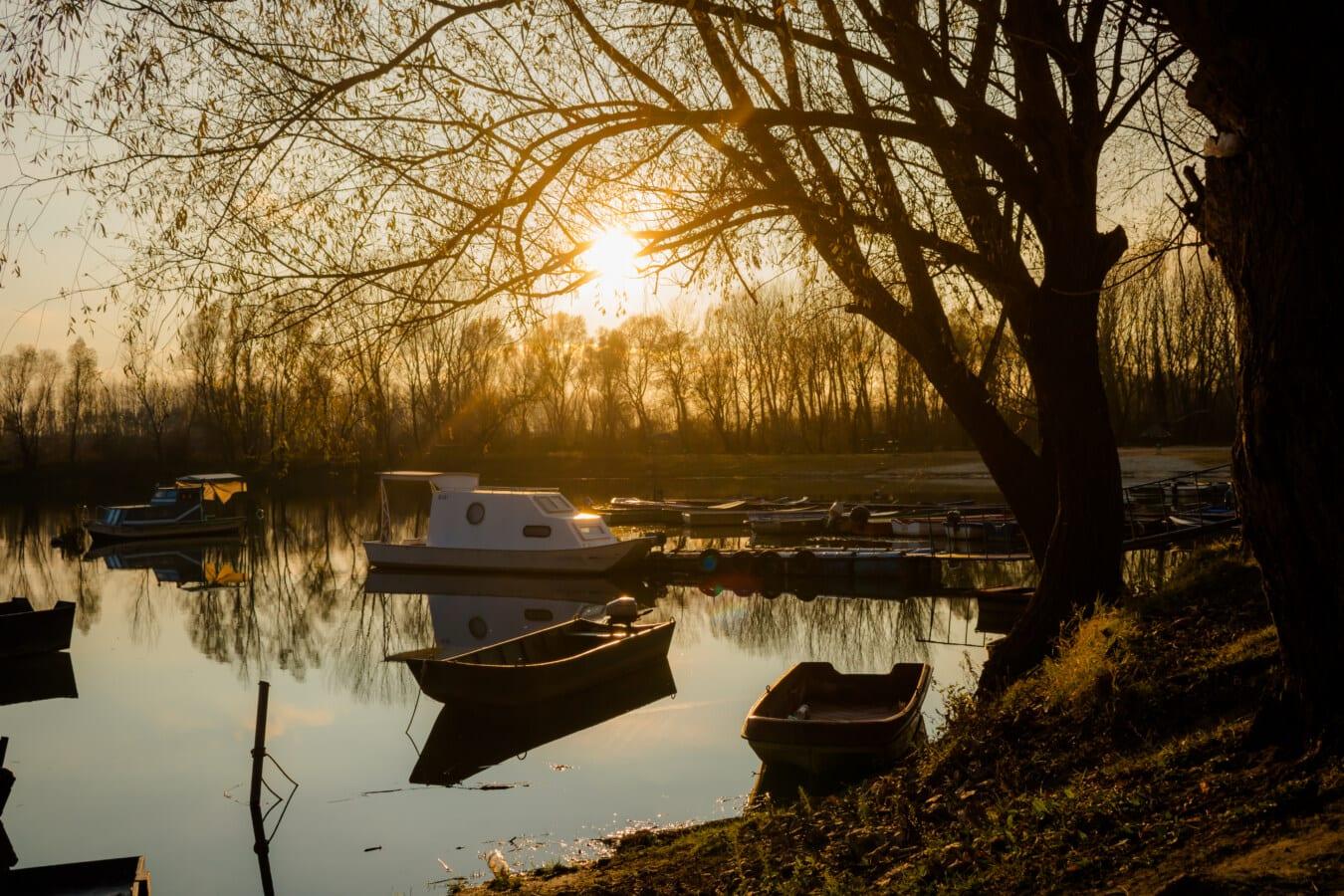 sunshine, sunset, harbour, yacht, sunrays, landscape, water, river, reflection, dawn