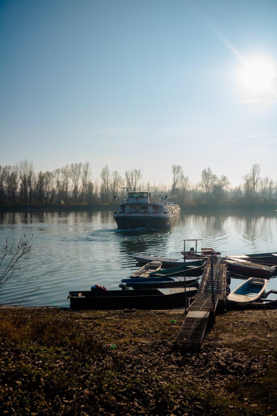 Schlepper, Lastkahn, Ufer, Schuppen, Boot, Wasser, See, Fahrzeug, Wasserfahrzeuge, Sonnenuntergang