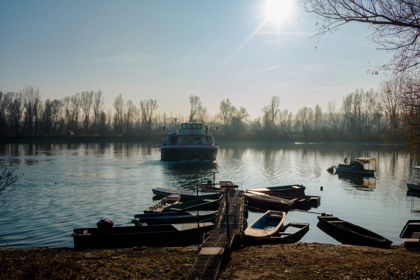tugboat, ship, river, river boat, riverbank, shore, lake, lakeside, boat, shed
