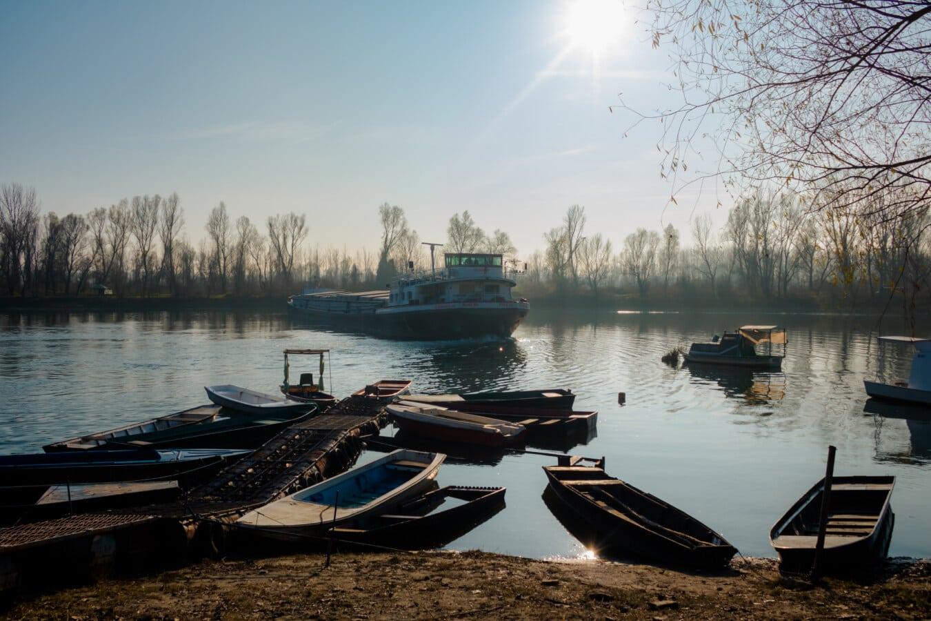 tugboat, barge, harbor, river, river boat, riverbank, sunshine, boat, water, watercraft