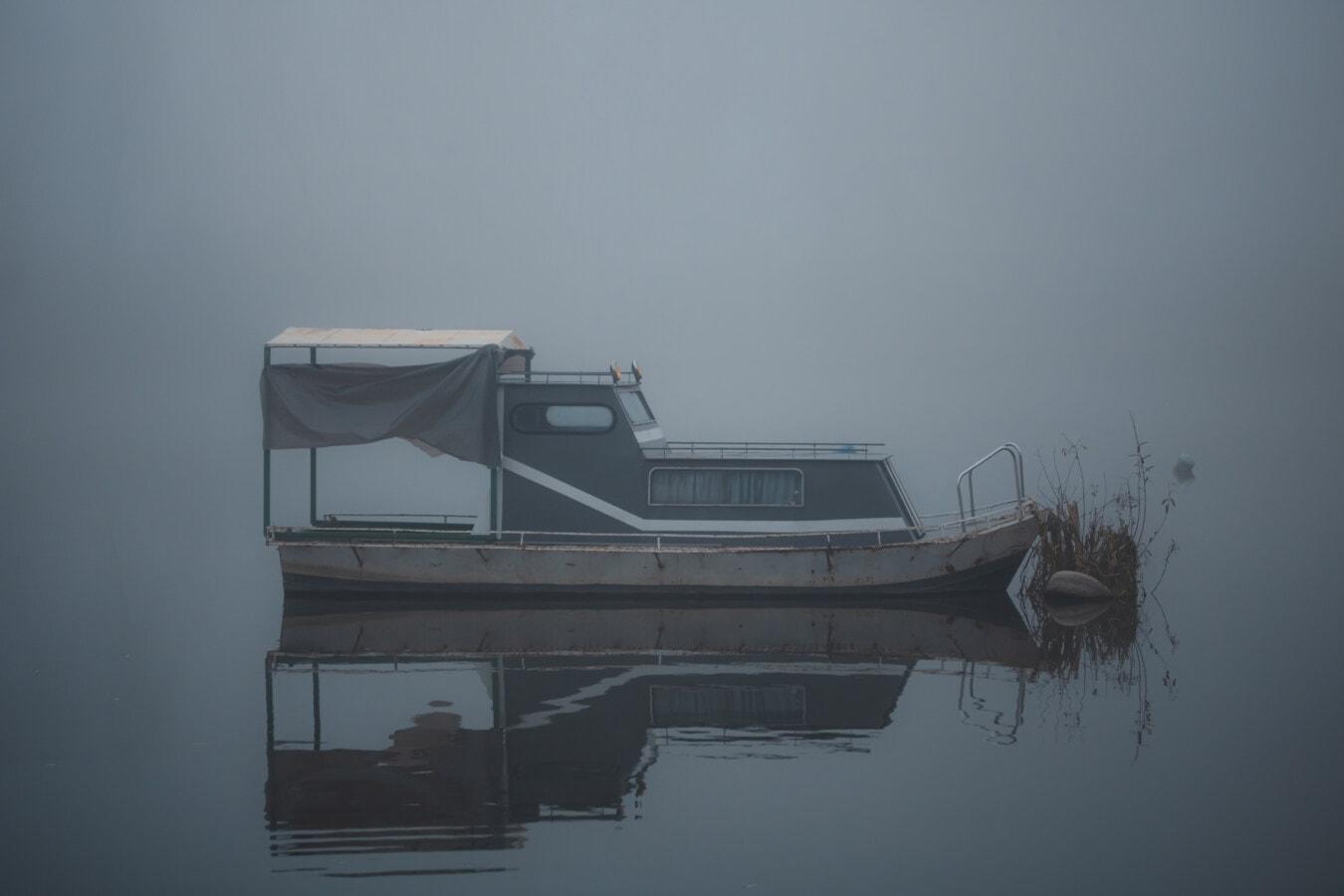 Boot, Nebel, neblig, Angelboot/Fischerboot, Wasser, Dämmerung, Nebel, Strand, See, Fluss