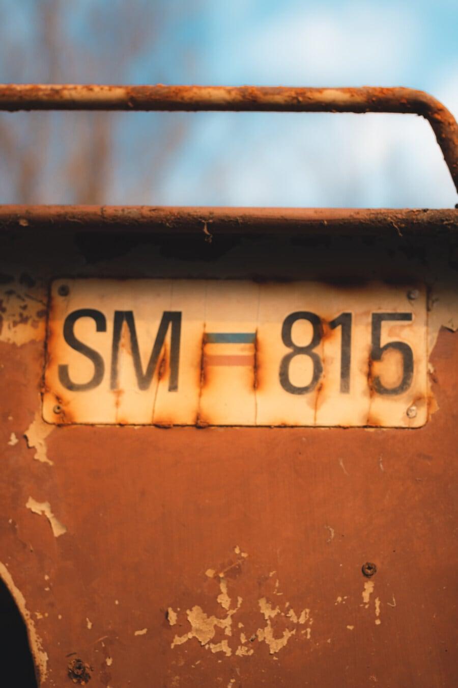 style ancien, rouille, signe, metal, nombre, retro, sale, à l'extérieur, vieux, en acier