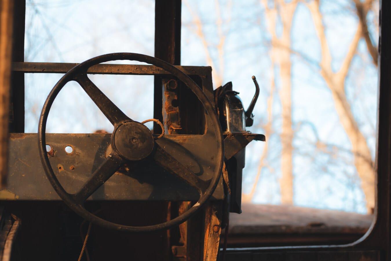 vieux, volant de direction, navire, artiste du spectacle, abandonné, carie, démodé, rouille, en acier, fer