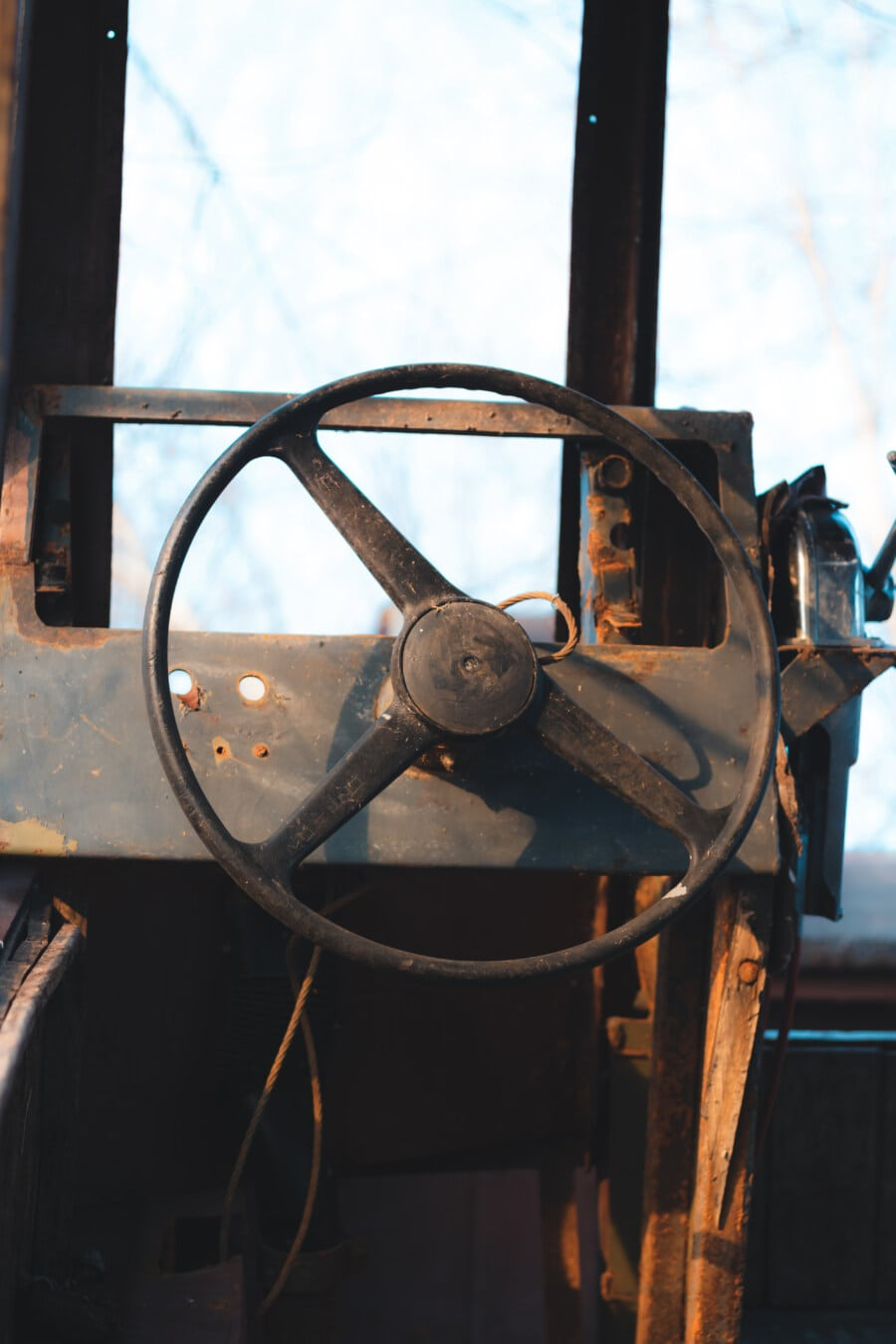 steering wheel, abandoned, shipwreck, ship, decay, dashboard, old, control, device, mechanism