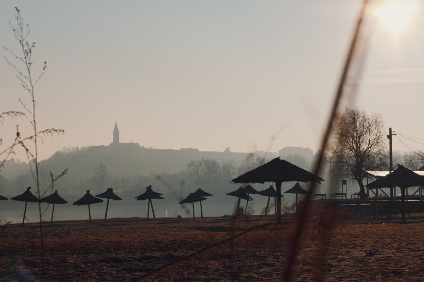 beachfront, sunset, dusk, foggy, parasol, barn, dawn, landscape, beach, fog