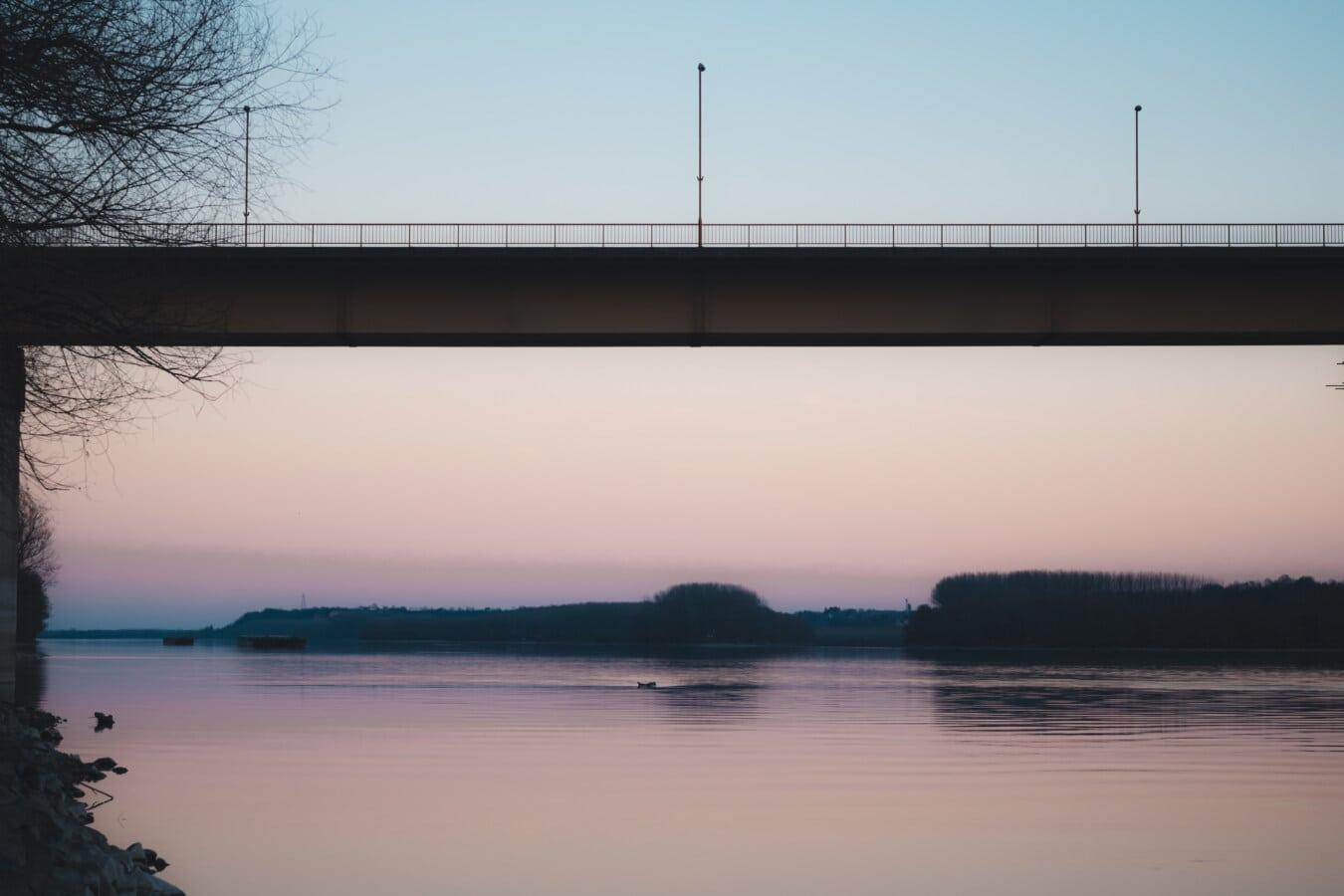 bridge, twilight, reflection, Danube, river, dawn, water, dusk, lake, landscape