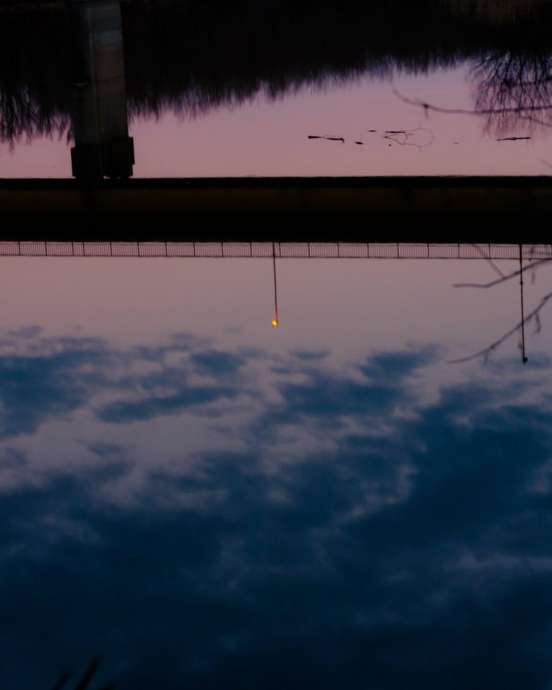 silhouette, reflection, twilight, dusk, bridge, water, sunset, dawn, light, nature