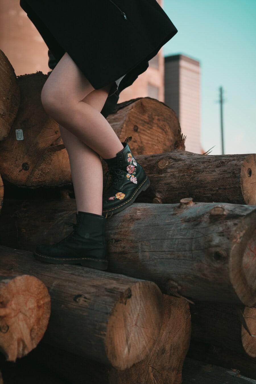 leather, fancy, black, boots, legs, firewood, wood, portrait, girl, model