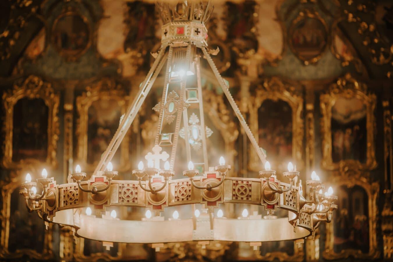 orthodoxe, lustre, église, lumière, illumination, fantaisie, traditionnel, autel, architecture, à l'intérieur