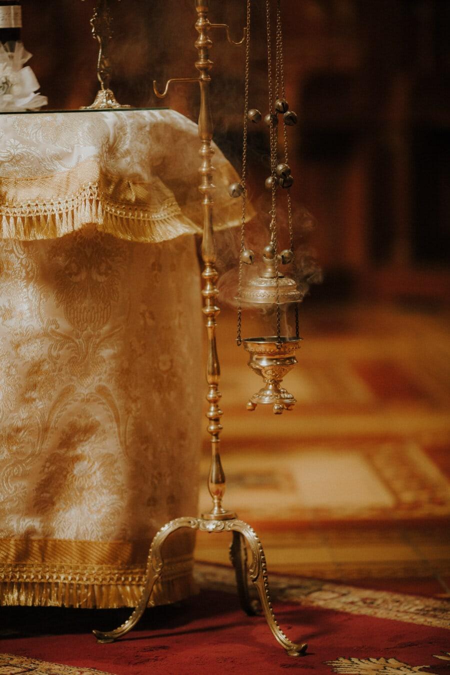 religiöse, Objekt, Byzantinische, orthodoxe, Rauch, Kette, alt, Jahrgang, drinnen, Antik