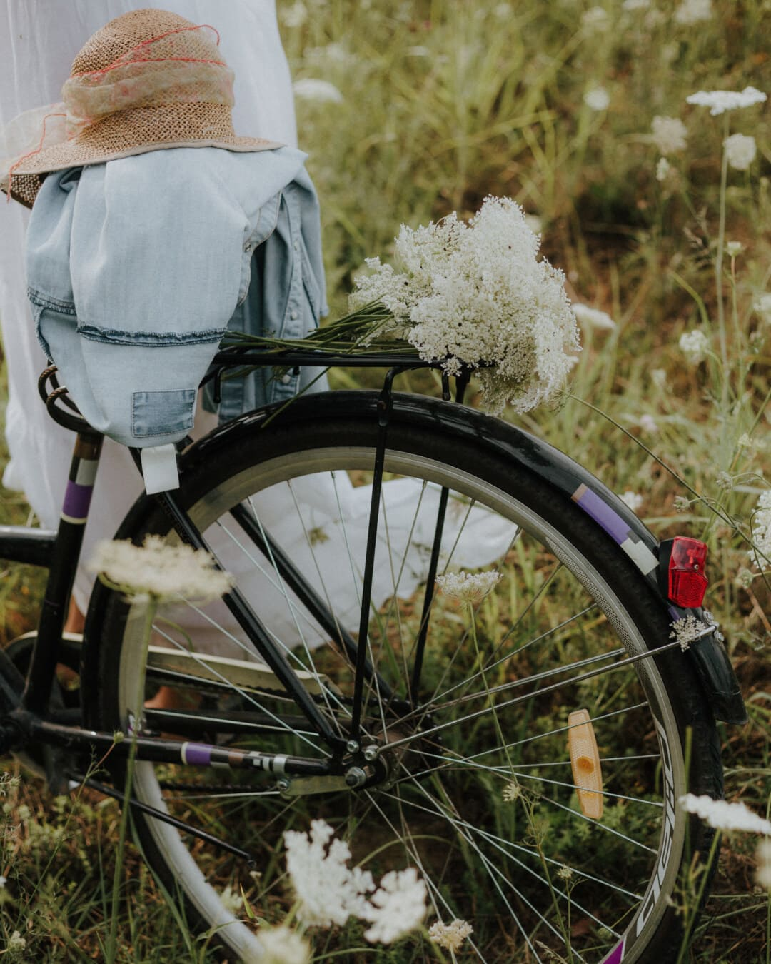 l'été, chapeau, veste, robe de mariée, vélo, roue, à l'extérieur, vélo, nature, cycliste