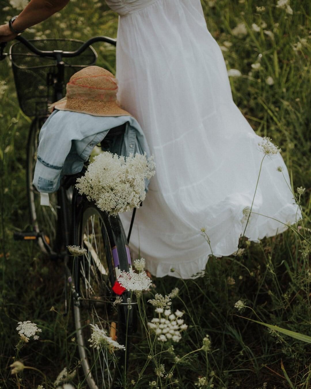 bicycle, girl, dress, wildflower, hat, nostalgia, vintage, bride, flower, engagement