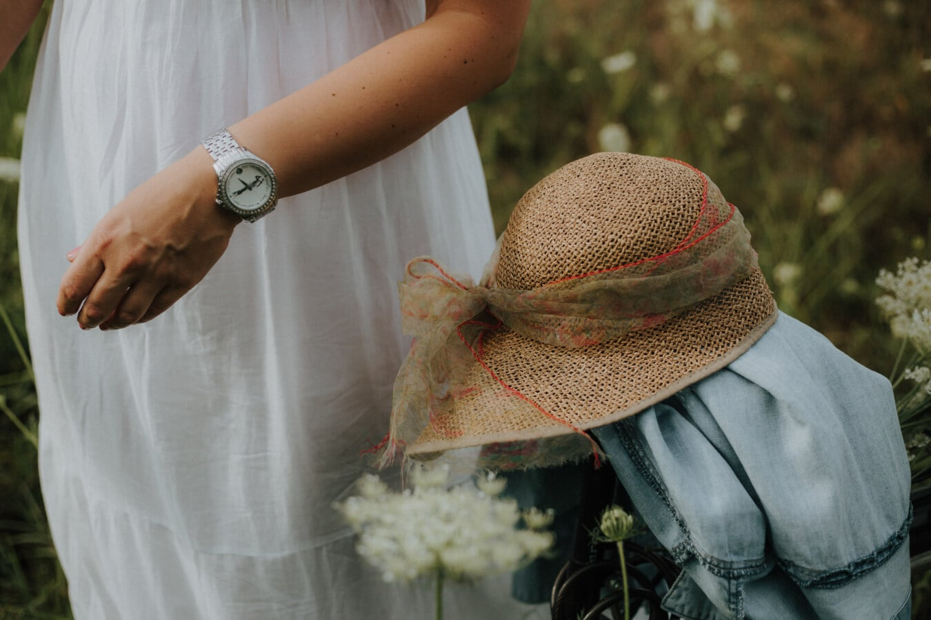 robe, blanc, jute, chapeau, veste, nature, à l'extérieur, femme, été, fleur