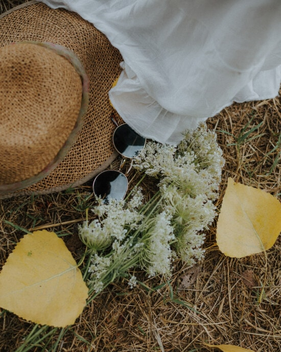 old fashioned, sunglasses, hat, yellow leaves, wildflower, white flower, still life, herb, flower, rural