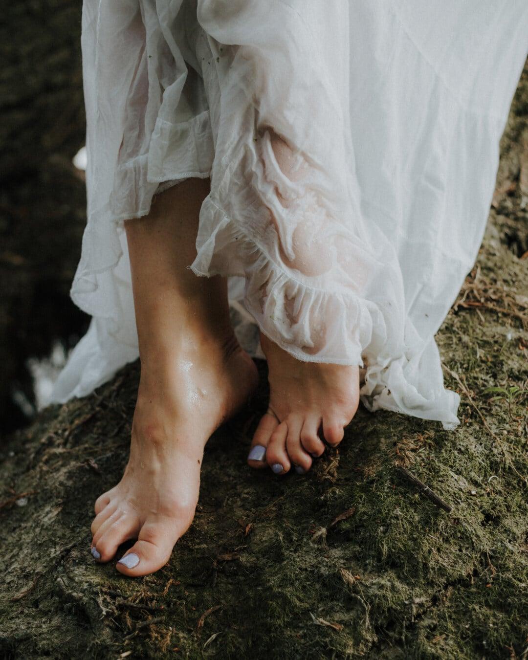 jambes, pieds nus, vernis à ongle, doigt, robe de mariée, la mariée, mariage, jeune fille, femme, mode