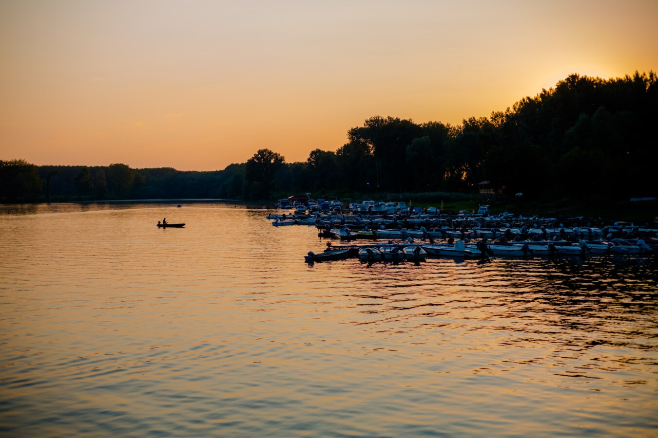 dusk, lake, placid, boats, harbour, silhouette, water, sunset, reflection, river