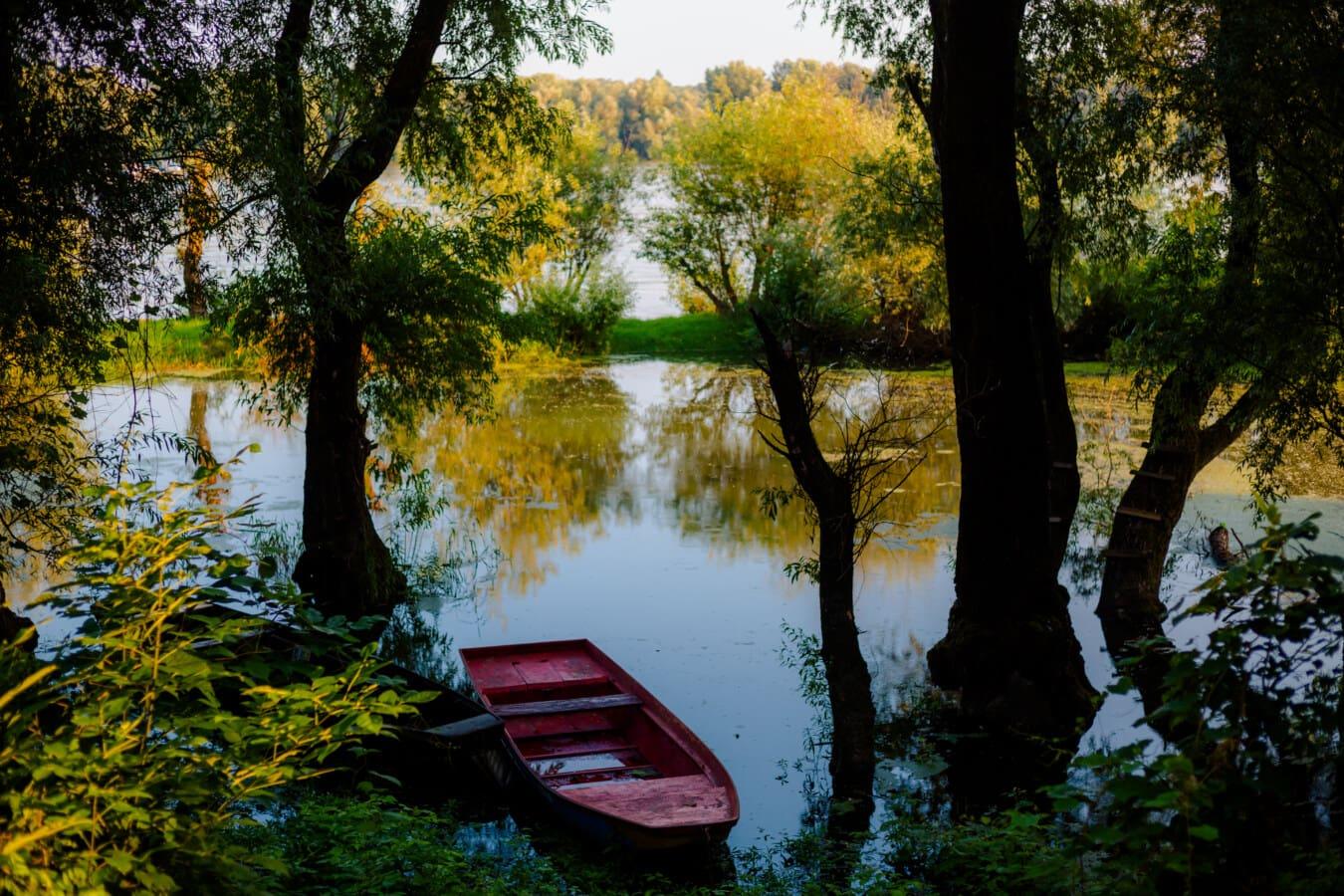 lake, dark red, boat, river boat, trees, shadow, tree, dawn, river, reflection