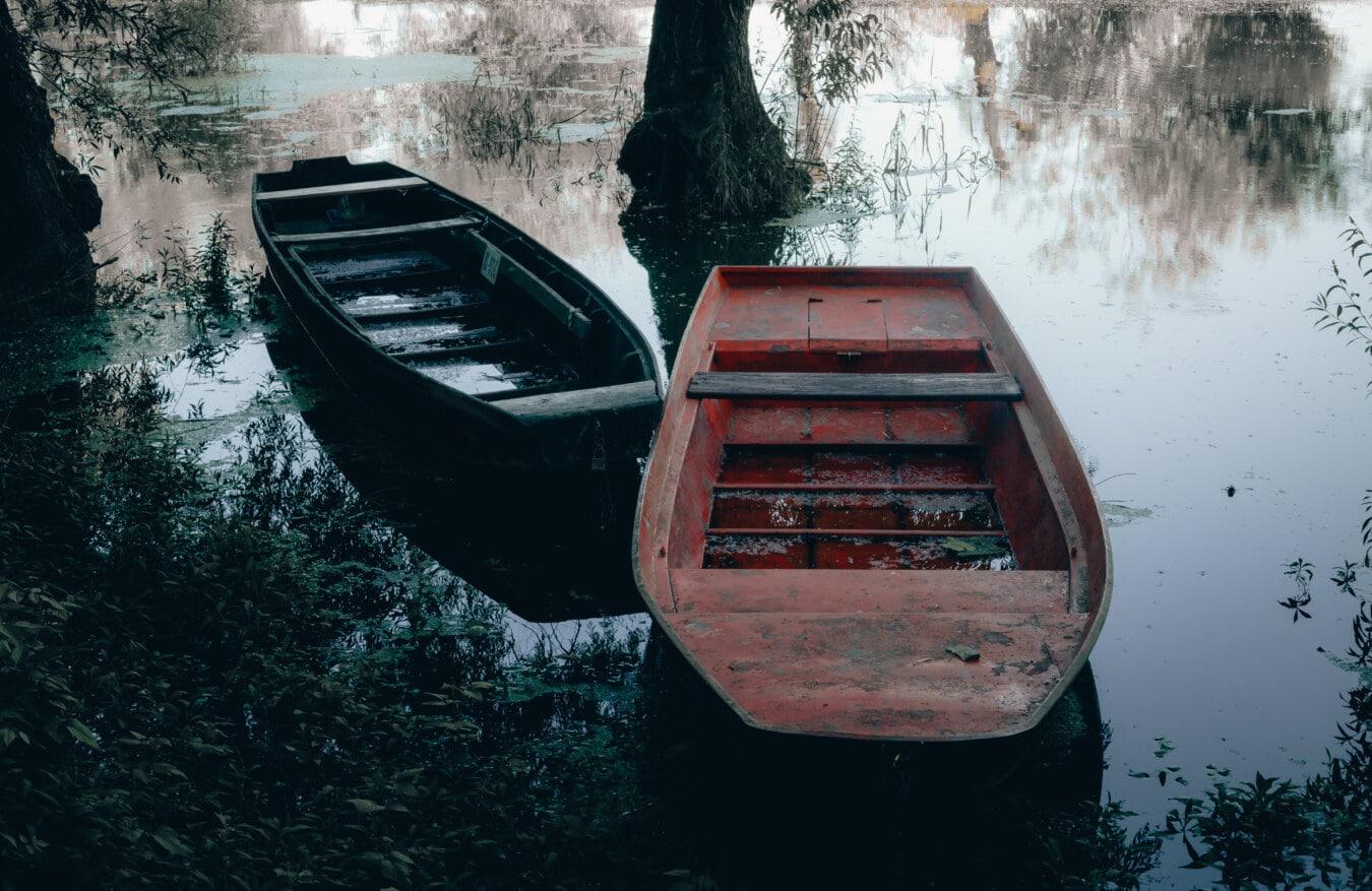 Boote, Flussschiff, Flussufer, Küste, Schatten, Wasser, Boot, Holz, Natur, Wasserfahrzeuge