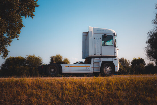 truck, side view, vehicle, field, machine, tree, nature, outdoors, countryside, road