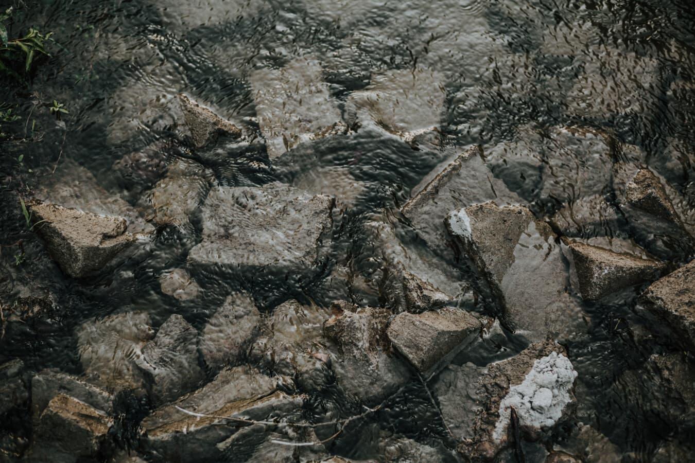 Fluss, Flussufer, Flussbett, große Steine, Natur, Rock, dreckig, Wasser, im freien, rau