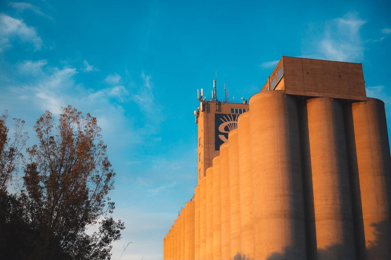 Silo, hoch, Gebäude, Wände, Beton, Factory, Branche, Architektur, im freien, Turm