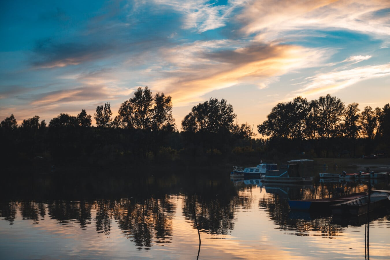crépuscule, crépuscule, bateaux, port, coucher de soleil, réflexion, Lac, eau, aube, soirée