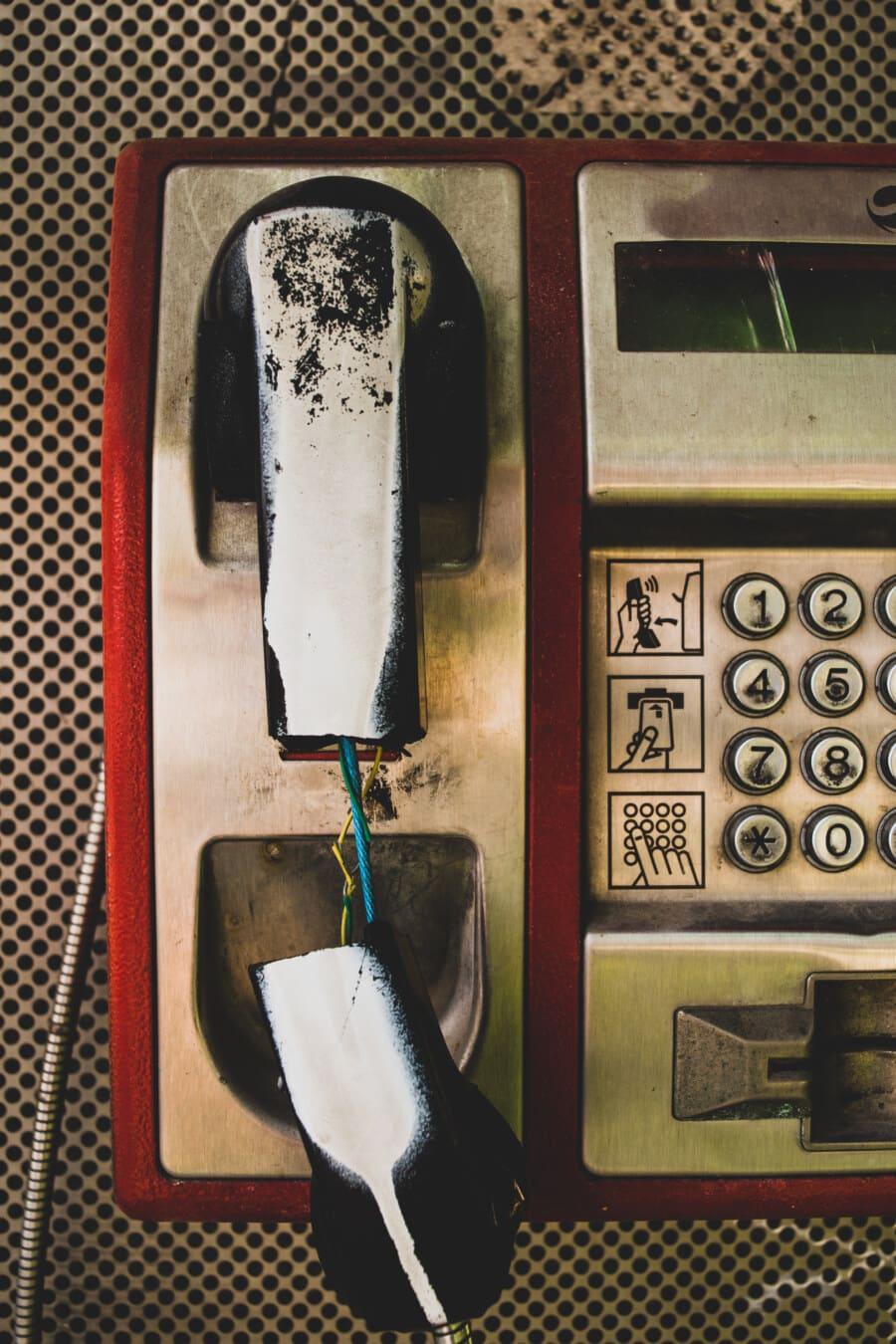 téléphone, ligne téléphonique, sale, carie, vieux, vandalisme, vintage, dommage, nostalgie, classique