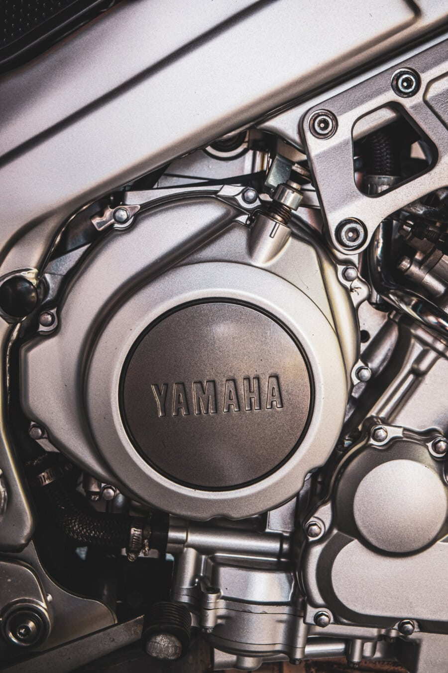 Yamaha, engine, parts, motorbike, stainless steel, metallic, chrome, technology, machinery, industry