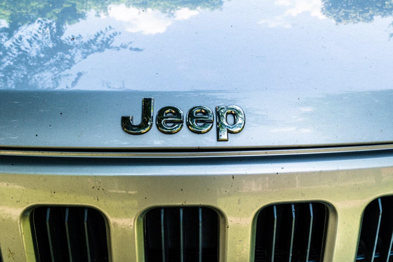 Jeep, chrome, signe, métalliques, secteur d'activité, automobile, voiture, véhicule, classique, hotte