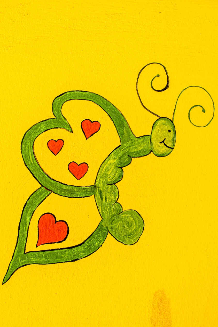 Graffiti, sommerfugl, gul grønn, skisse, kreativitet, hjerter, kunst, illustrasjon, design, farge