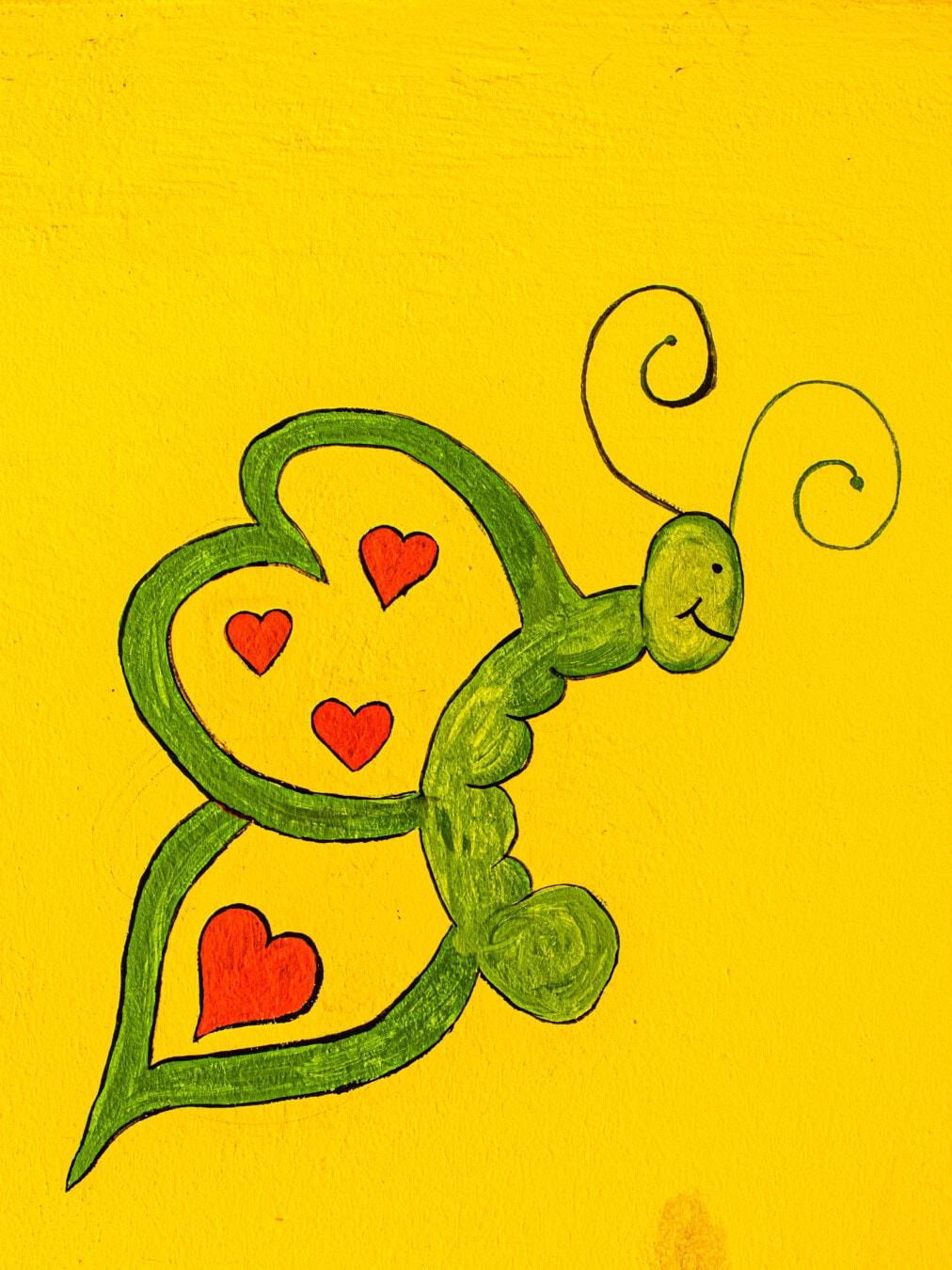 graffiti, funny, green, butterfly, art, illustration, retro, design, abstract, symbol