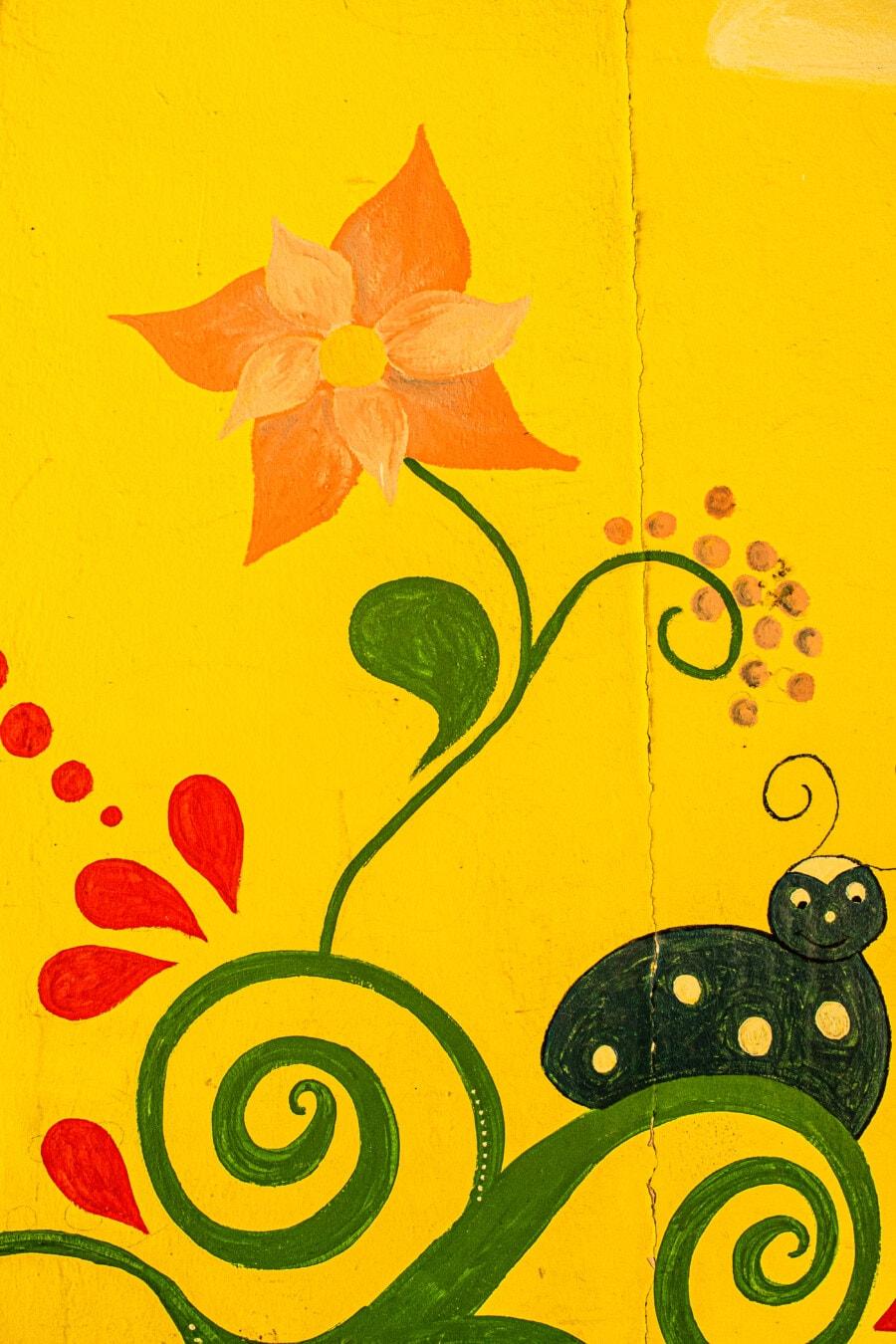 Graffiti, drôle, mur, Jaune, fleurs, illustration, conception, art, décoration, Résumé