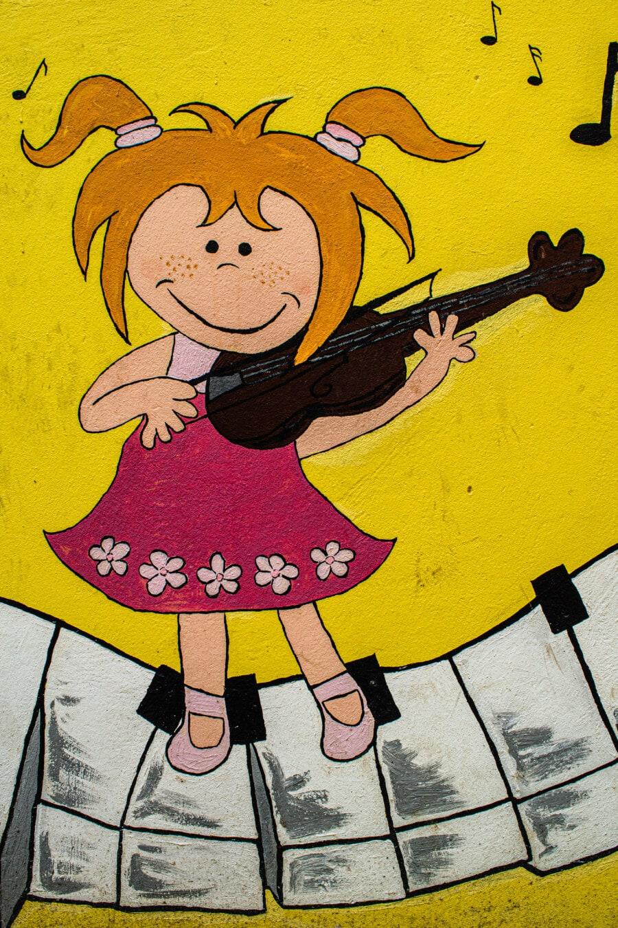 jeune fille, Graffiti, croquis, musicien, violon, art, illustration, drôle, conception, peinture