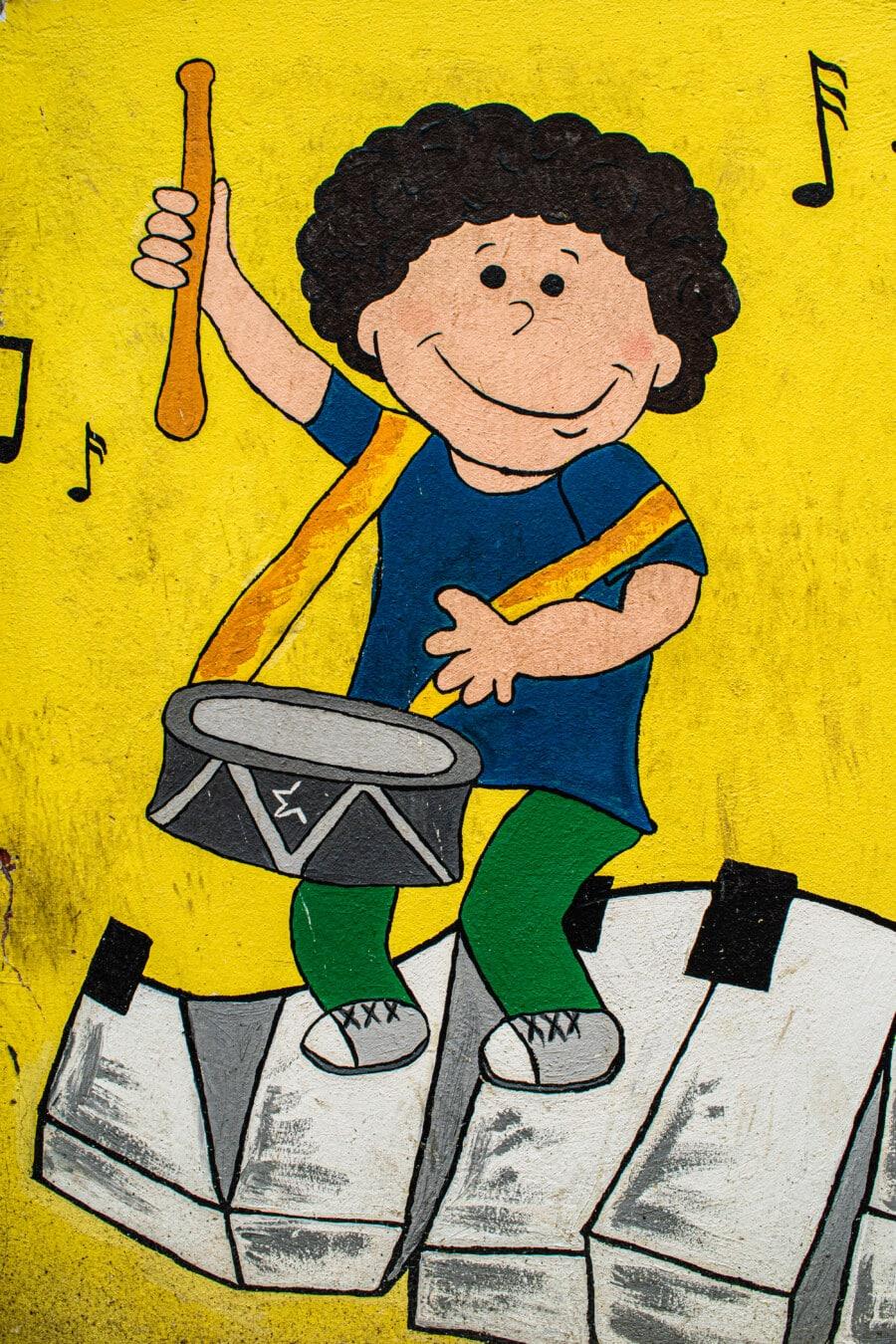 enfant, musicien, tambour, croquis, artistique, Graffiti, créativité, art, illustration, retro