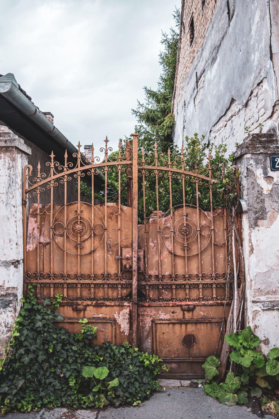 abandonné, carie, fer de fonte, passerelle, rouille, porte d'entrée, rue, architecture, vieux, maison