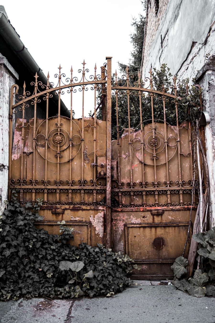 Porte, fer de fonte, fait main, rouille, Grunge, carie, maison, abandonné, lierre, vieux