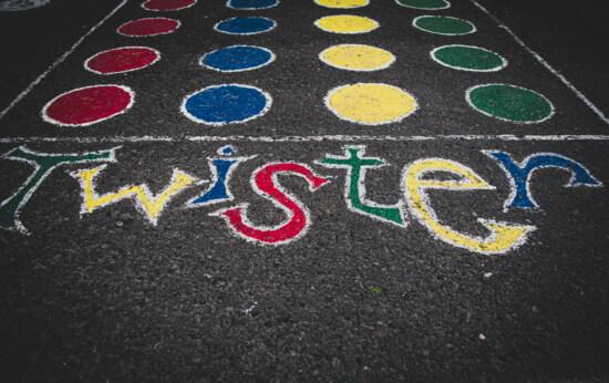 Twister, béton, coloré, texte, jeu, asphalte, Itinéraire, rue, urbain, texture, piste