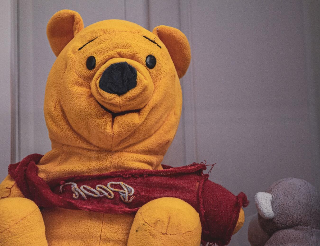 Plüsch, Jahrgang, Teddybär Spielzeug, Farbe, Orange gelb, Pullover, lustig, Spielzeug, Spaß, Retro
