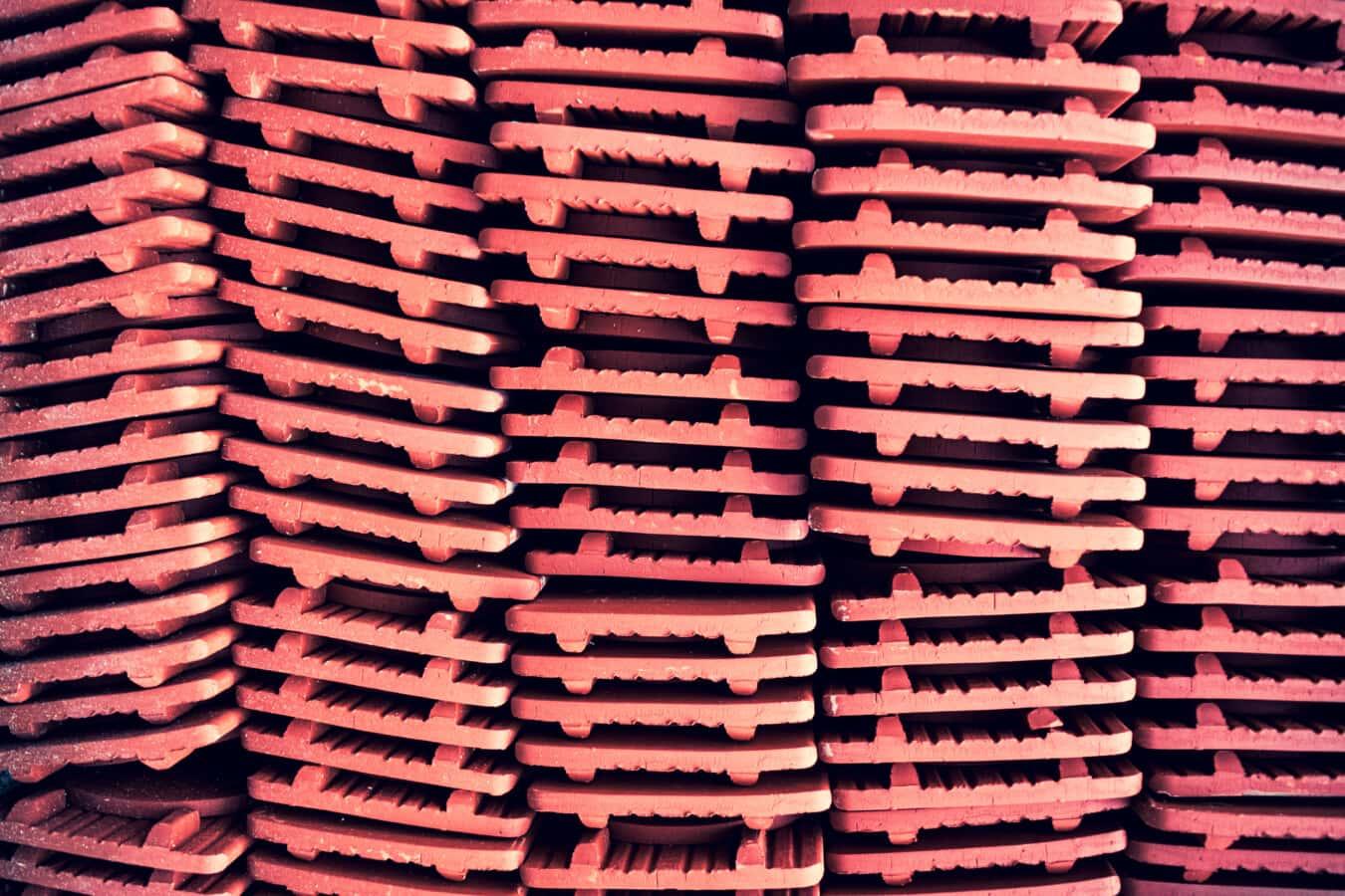 Fliesen, rötlich, Dach, Keramik, horizontal, Textur, Branche, Muster, Architektur, Stapel