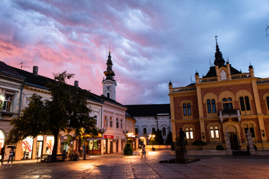 downtown, square, evening, church tower, museum, architecture, street, city, building, dusk