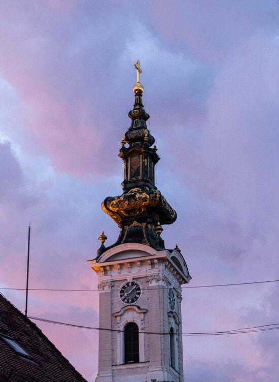 seara, Turnul Bisericii, strălucire aurie, cruce, arhitectura, Turnul, vechi, biserica, oraș, vechi