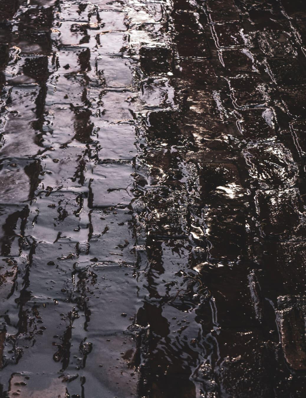 nuit, eau, pluie, liquide, ombre, Itinéraire, sale, texture, sol, modèle