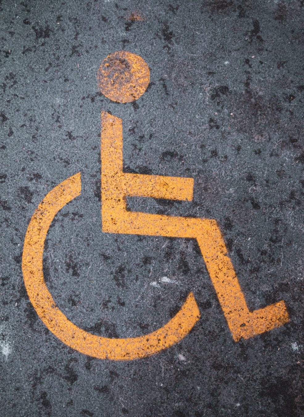 Zeichen, Rollstuhl, Asphalt, Parkplatz, Parken, deaktiviert, Symbol, Verkehr, Straße, Warnung
