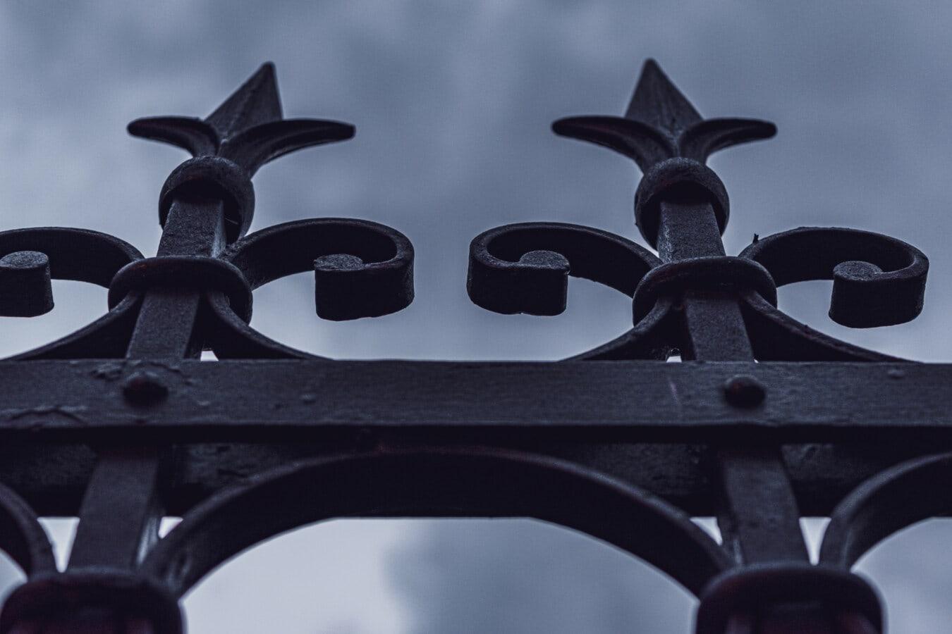 fer de fonte, clôture, gothique, fer, pointe de flèche, fait main, flèche, bleu foncé, art, vieux