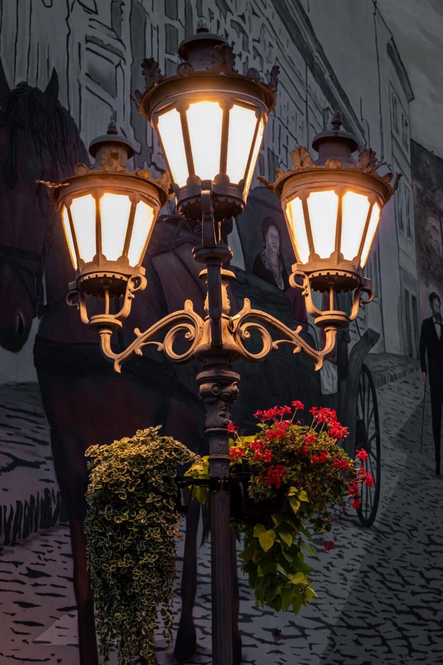 Lampe, aus Gusseisen, Straße, 'Nabend, Laterne, Architektur, alt, Klassiker, Kunst, traditionelle